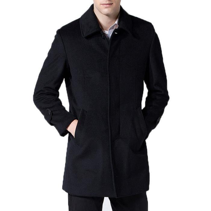 Manteau homme de Marque revers manteau en laine d'affaires Homme longueur manteau de mode manteau Duffle coat homme