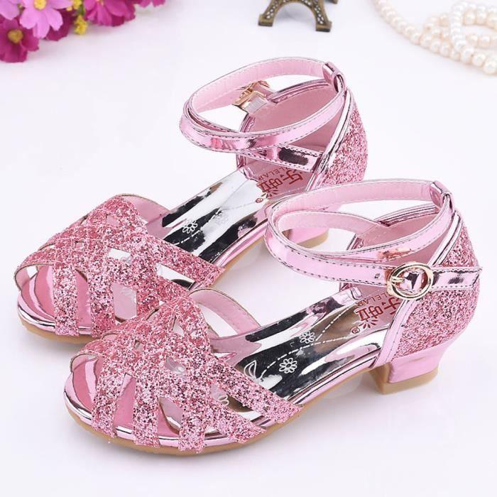 Tout-petit enfants filles Bling paillettes simples princesse chaussures sandales chaussures de danse Rose