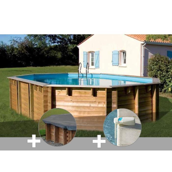 Kit piscine bois Sunbay Vermela 6,72 x 4,72 x 1,46 m + Bâche hiver + Alarme
