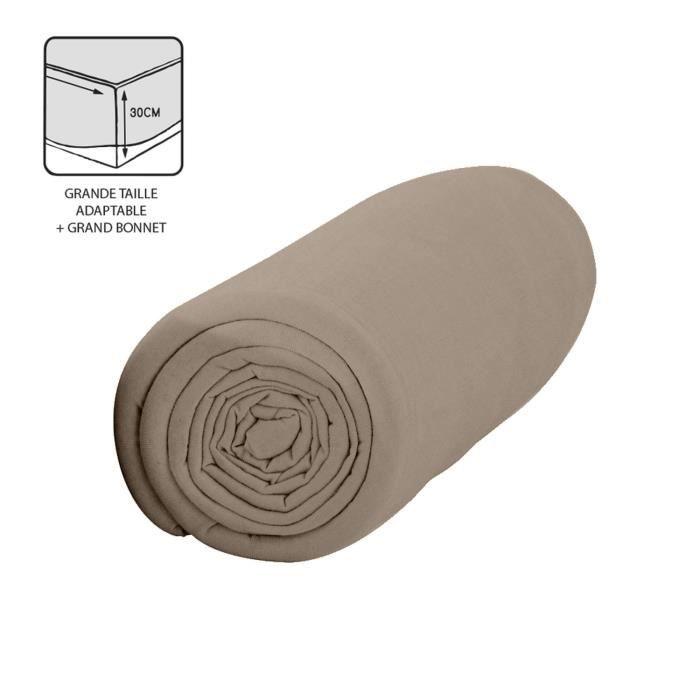 Drap housse Mastic - 100% coton 57 fils - Bonnet 30 cm - 140 x 200 cm - Taupe