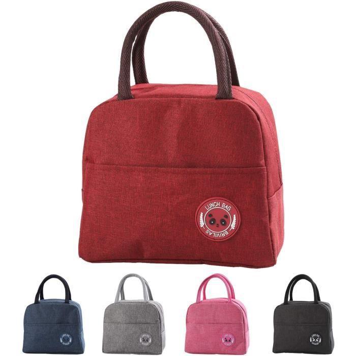 Sac Isotherme Repas Bureau Lunch Bag Sac de Transport Repas Pique-Nique Sac de Poche Toile Imperméable isol,Rouge