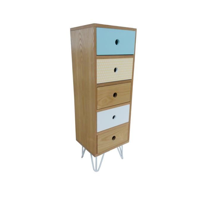 meuble chiffonnier 5 tiroirs esprit scandinave bleu polaire achat vente chiffonnier. Black Bedroom Furniture Sets. Home Design Ideas