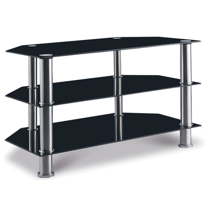 Meuble tv en verre noir mikado achat vente table basse for Table de television en verre