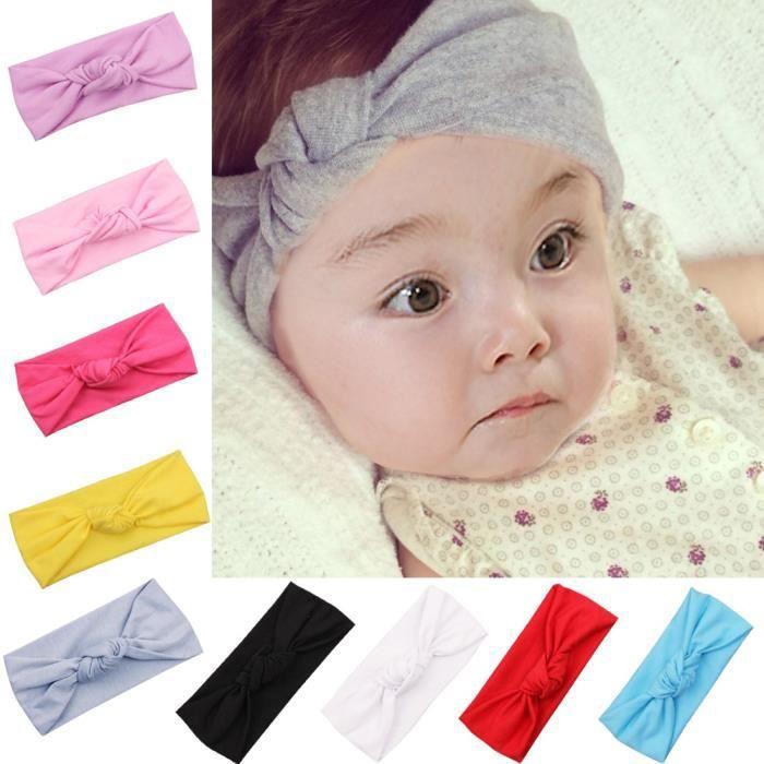 Neuf Pour Bébé Fille Mignon Bow coton Turban Serre-Tête Cheveux Bande Blanc Taille Unique