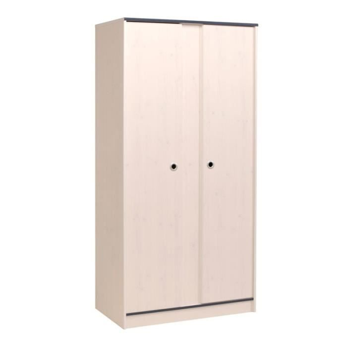 armoire 2 portes pin blanc oggy achat vente armoire. Black Bedroom Furniture Sets. Home Design Ideas