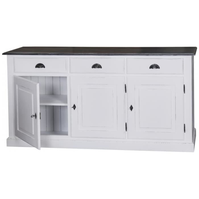 buffet 3 portes 3 tiroirs pin massif blanc patin achat. Black Bedroom Furniture Sets. Home Design Ideas