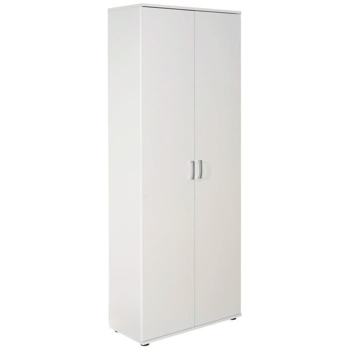 armoire de rangement blanche 2 portes avec 5 tag re. Black Bedroom Furniture Sets. Home Design Ideas