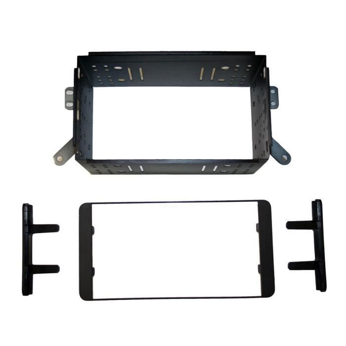 adaptateur de fa ade d 39 autoradio double din noir avec cage m tallique toyota hilux 2007. Black Bedroom Furniture Sets. Home Design Ideas