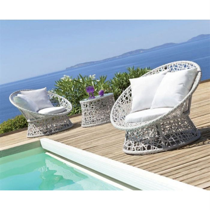 salon detente en duo platillo couleur blanc achat vente salon de jardin salon detente. Black Bedroom Furniture Sets. Home Design Ideas