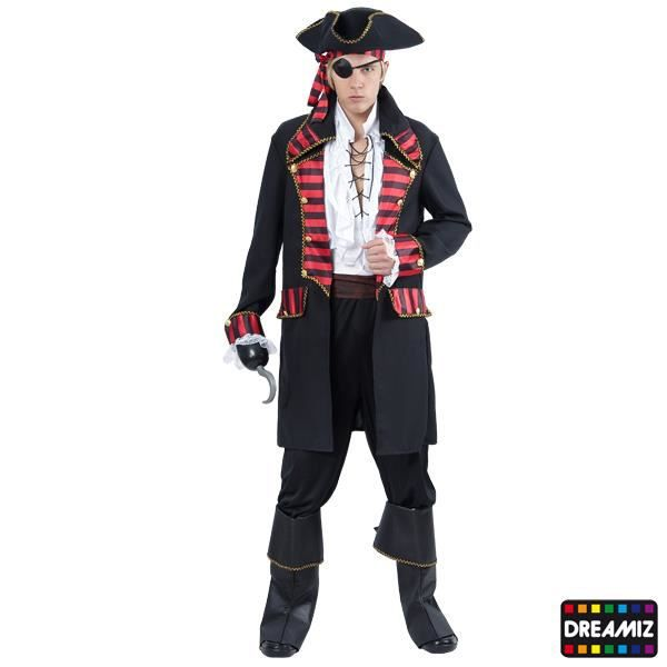 CROCHET NOIR de Pirate Accessoire Déguisement Homme capitaine NEUF Pas cher