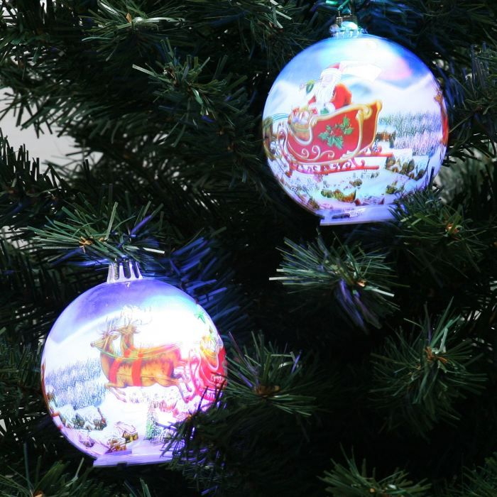 2 boules lumineuses 80mm d co p re noel traineau achat for Achat decoration de noel
