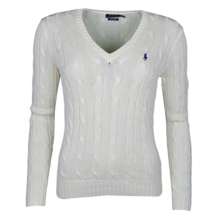 Pull col V Ralph Lauren beige logo bleu marine
