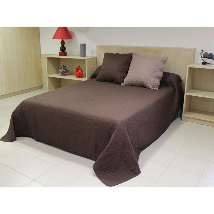 couvre lit boutis uni chocolat matelass 180x2 achat vente jet e de lit boutis cdiscount. Black Bedroom Furniture Sets. Home Design Ideas