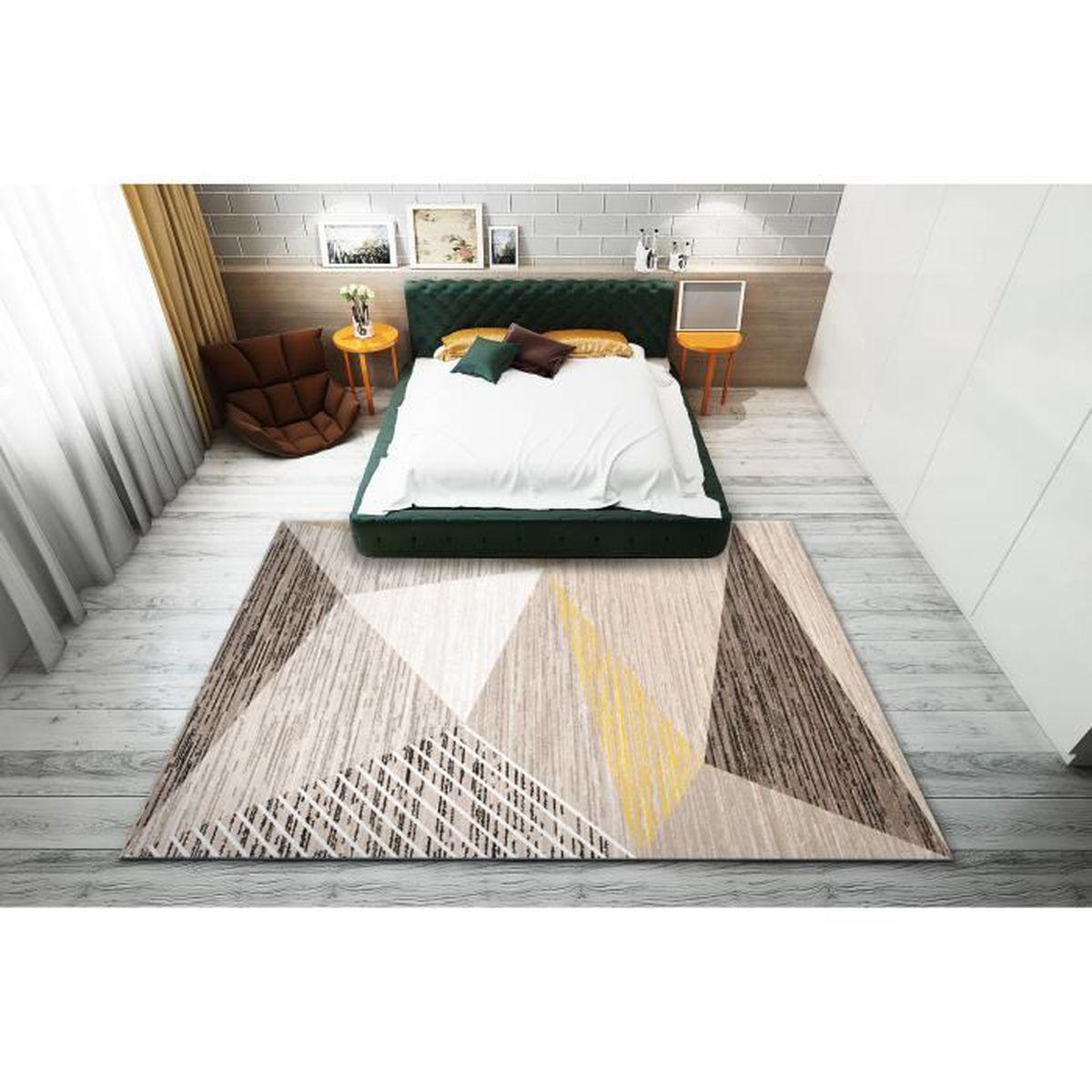 Tapis Salon Couleur Rouille tapis de maison décoration120*160cm chambre salon grand motif rayé triangle  fibre de polyester