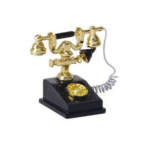 Ancien Téléphone 1//12 Maison de Poupée DIY Miniature Vintage Telephone