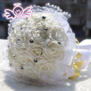BOUQUET MARIÉE TISSU BLANC 20cm PERLE + DIAMANT fleur bouquet de mariag