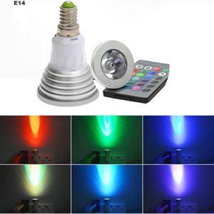 Micro-contrôleur E14 3W 16 LED de couleur RVB Magic spot ampoule la