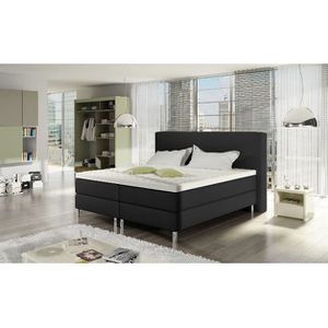 ENSEMBLE LITERIE Lit Boxspring Bart 180x200 aspect cuir coloris noi