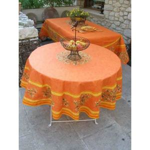 nappe ronde orange achat vente nappe ronde orange pas. Black Bedroom Furniture Sets. Home Design Ideas