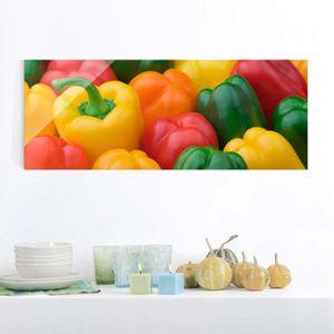 CADRE PHOTO 40x100 cm verre image - poivrons colorés - panoram