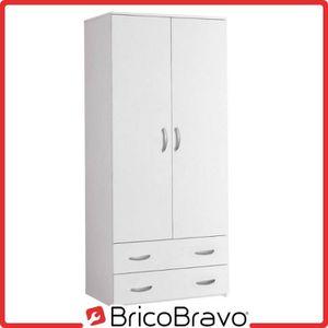 ARMOIRE DE CHAMBRE Armoire 2 portes + 2 tiroirs en bois couleur blanc