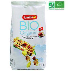CÉRÉALES PETIT DEJ  Muesli croquant Bio Fruits Noix 375G FAMILIA