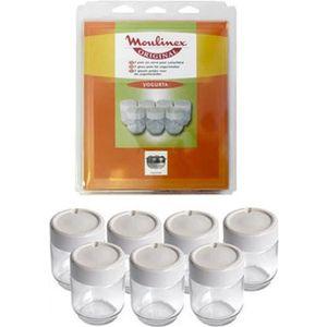 PIÈCE PRÉPARATION   Lot de 7 pots en verre avec couvercle pour Yaourti