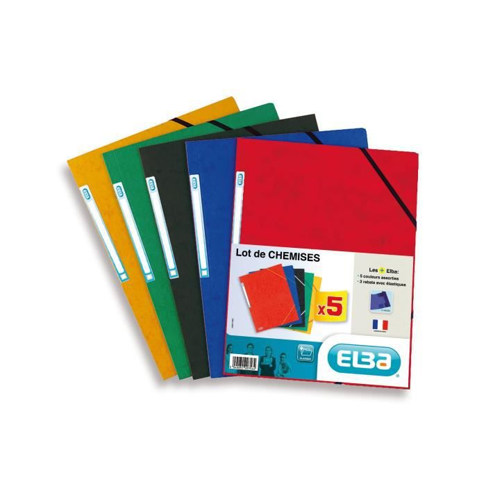 ELBA Lot de 5 chemises lustrées - A4 - Coloris assortis