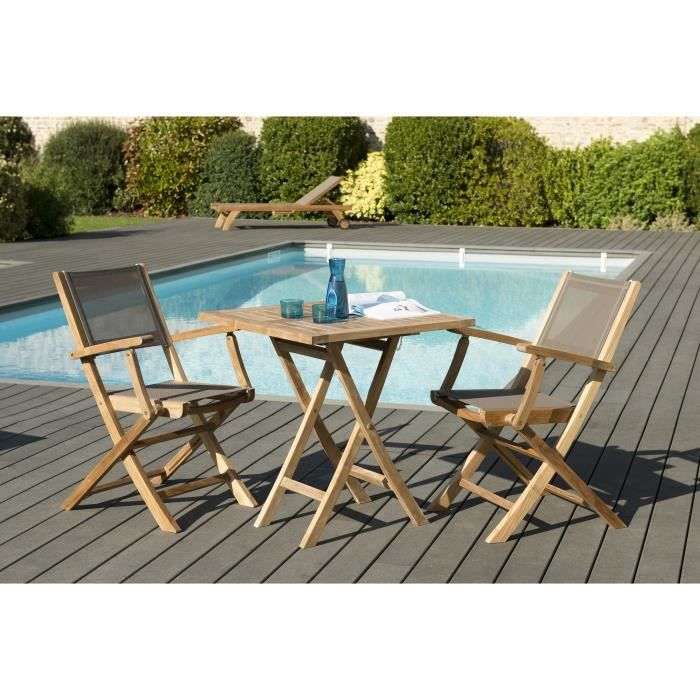 Ensemble de jardin en teck : 1 table carrée pliante 70 x 70 cm - Lot ...