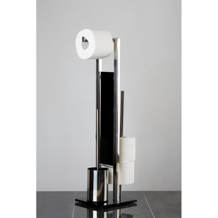 Brosses & dérouleurs WC - Combiné WC dérouleur papier et brosse WC - Rivalta - Inox 70 cm Argenté