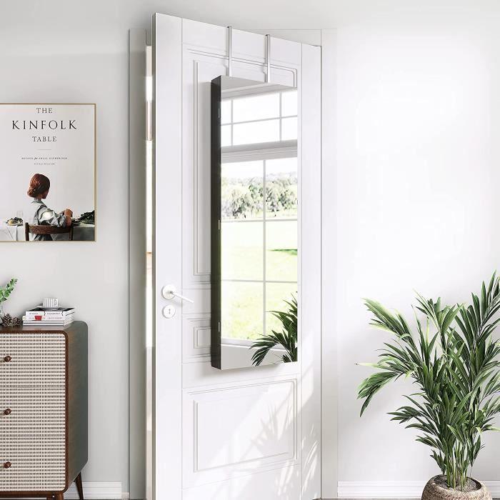 Armoire à Bijoux Miroir Armoire de Rangement Mural avec Serrure - Marron