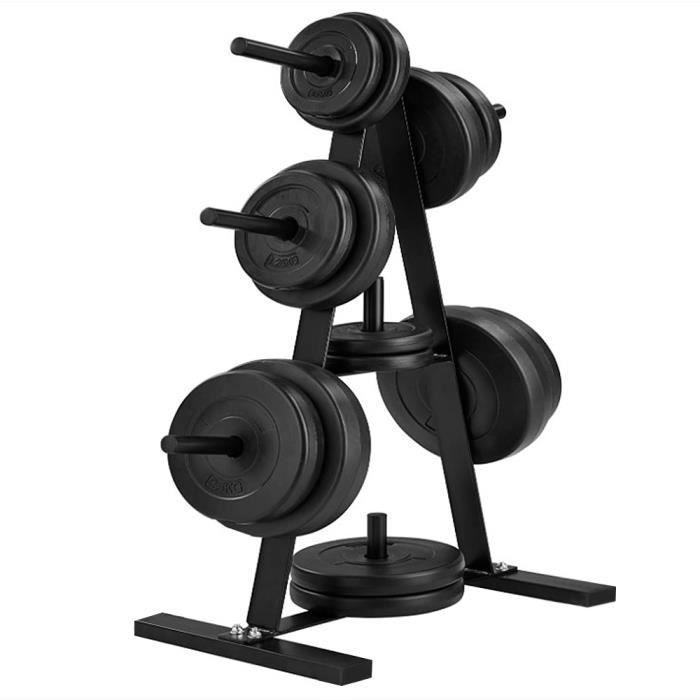 Rack de rangement Haltère Support, Couleur : Noir, Capacité de charge à 200 kg, 7 Barres