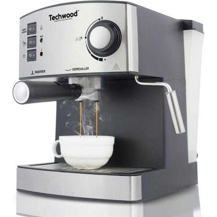 Cafetière Expresso électrique INOX café moulu ou dosettes souples 850W Buse Vapeur