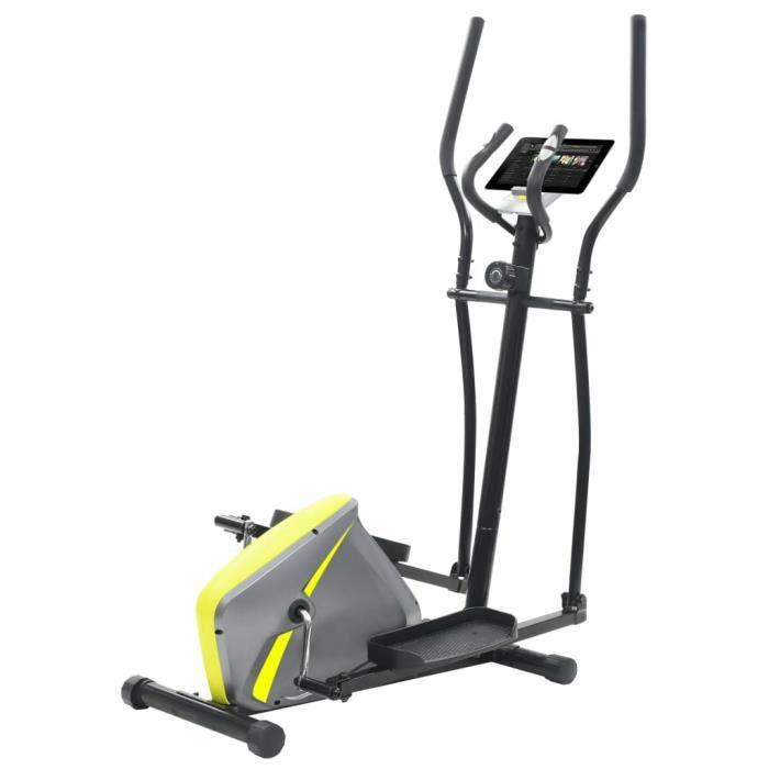 Vélo elliptique magnétique avec mesure du pouls gris et jaune