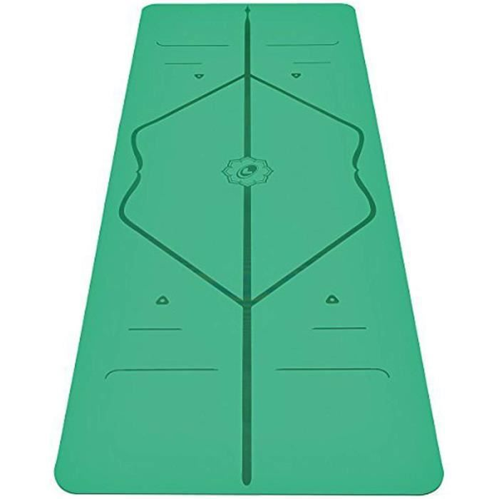 Tapis De Yoga Avec Lignes D'alignement Du Corps Tapis De Yoga Antidérapant Pilates Fitness 183 * 68 * 0.5cm (Vert)