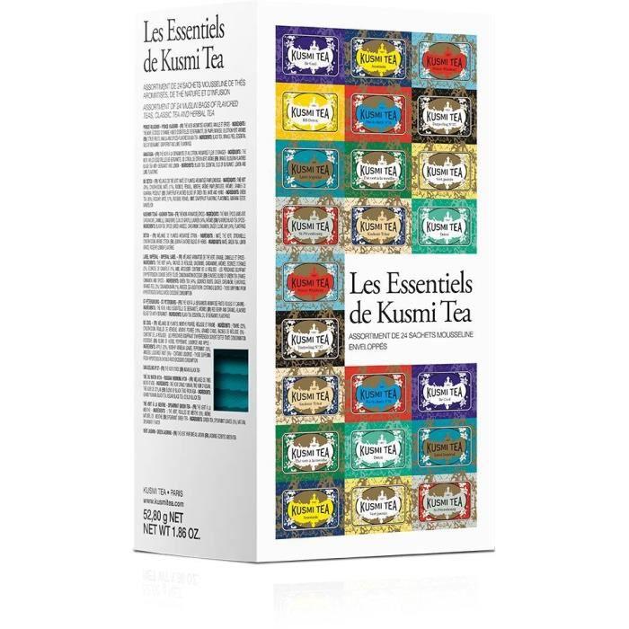 KUSMI TEA Les Essentiels - Etui carton 24 sachets mousseline - 52,8 g