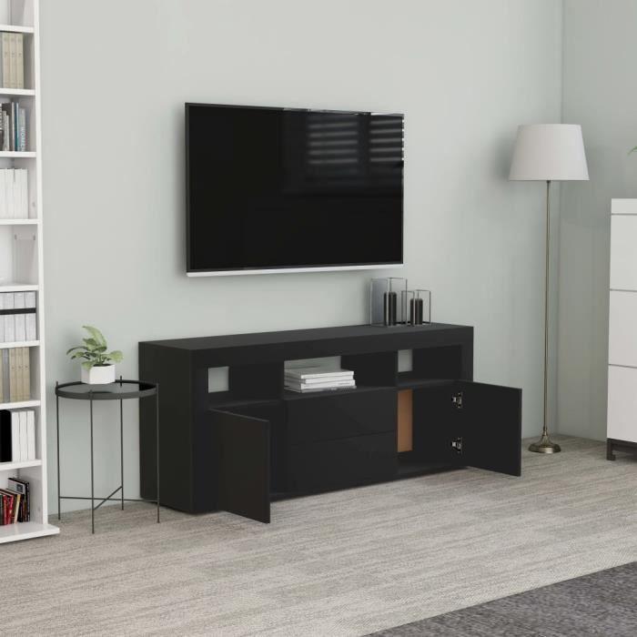 LIA Meuble TV Noir 120x30x50 cm Aggloméré