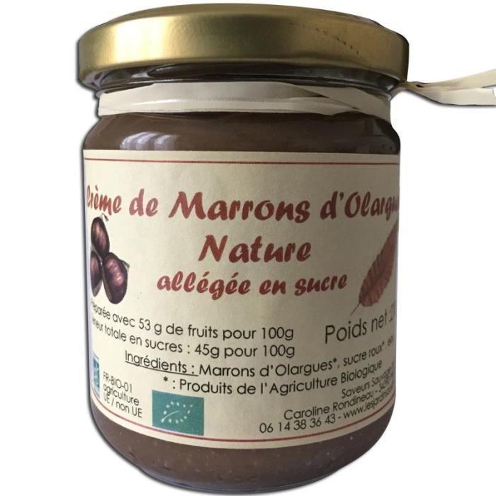 Crème de marrons Bio d Olargues nature 210g Les Jardins du Salvet