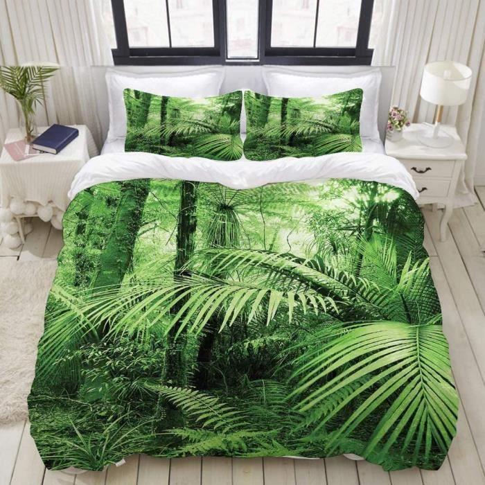 PENGTU Parure de lit avec Housse de Couette en Microfibre,Palmiers et Plantes Exotiques dans la Jungle Tropicale Nature Sauvage 225