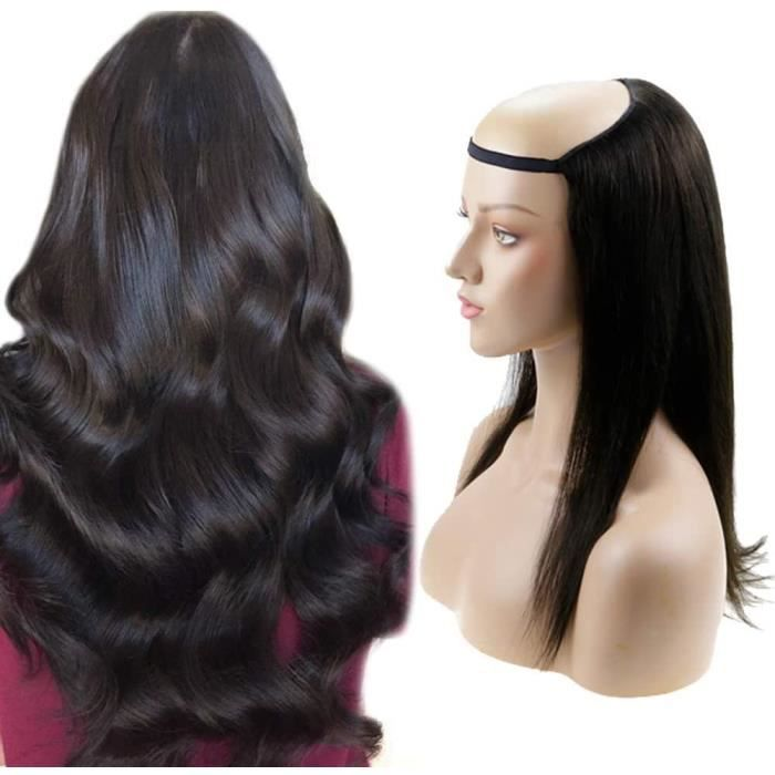 Half Perruque Naturelle 24 Pouces Couleur 1B Noir Naturel 160g Cheveux Raides Extension De Cheveux Humains Femme