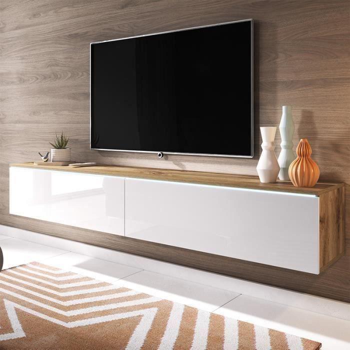 Meuble TV / Meuble de salon - KANE - 180 cm - chêne wotan / blanc brillant - avec LED - style moderne