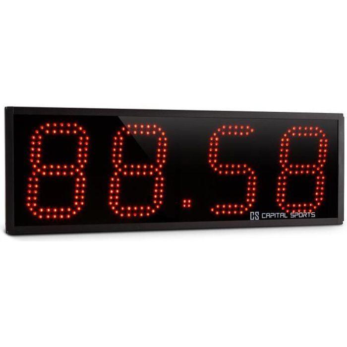 CAPITAL SPORTS Timeter Panneau LED Affichage sportif chronomètre pour Tabata & Cross-training (4 chiffres, alarme, télécommande)