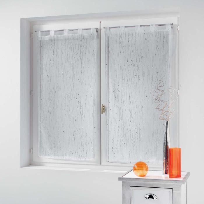 CDaffaires Paire droite passants 2 x 45 x 120 cm voile sable applique filiane Blanc