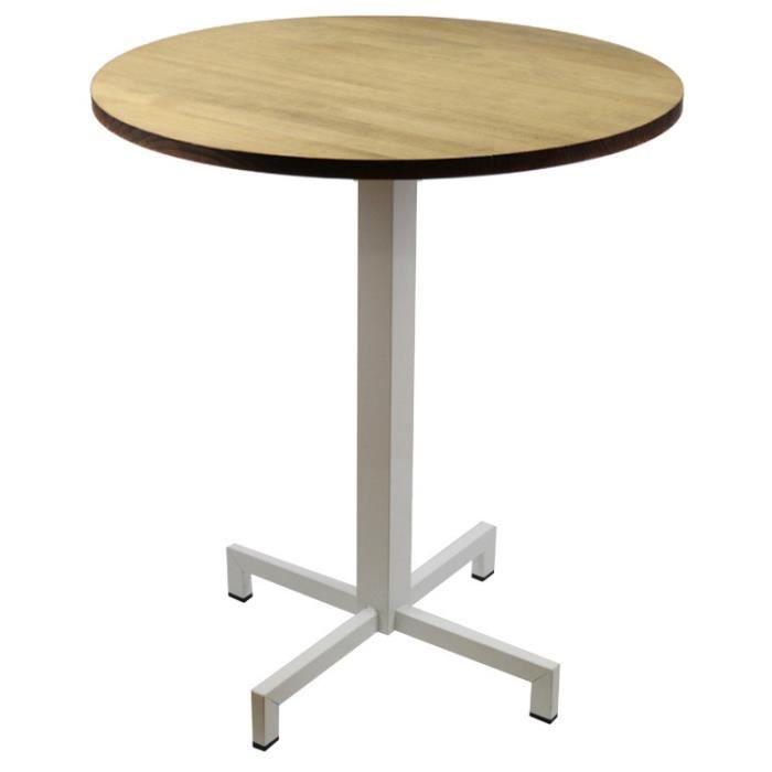 Table bistrot Icub pied central plateau rond 60x60x75cm blanc bois de pin fini vintage style industriel