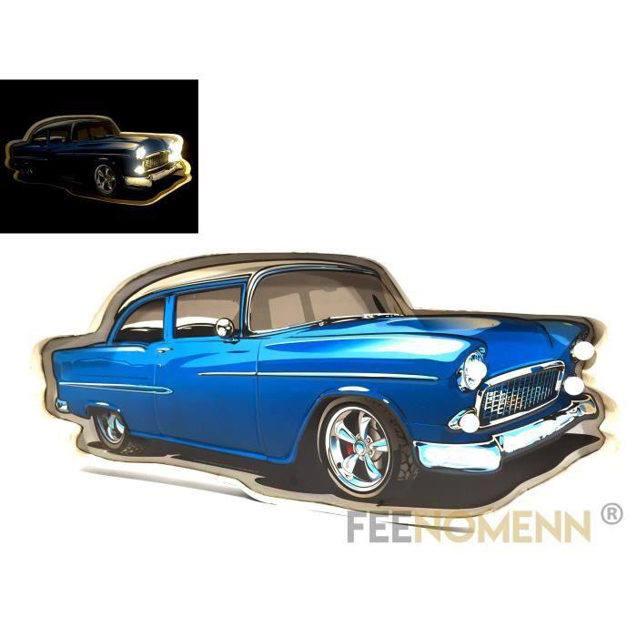 Plaque Métal Lumineuse LED - Déco Murale Vintage - Voiture Bleue Cadillac Coupe Style (58x26cm)