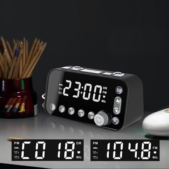 Garosa Radio Portable Réveil DAB radio FM lecteur de musique portable noir avec grand écran d'affichage LED