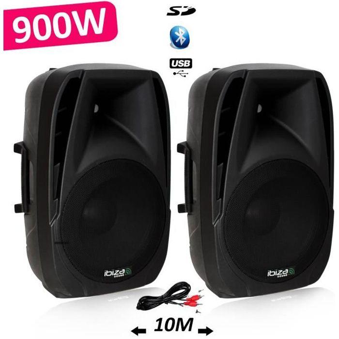 Système Actif Amplifié 900W Paire d'enceintes Sonorisation Musiciens DJ USB Bluetooth MP3 THERMO MOULEE BT12