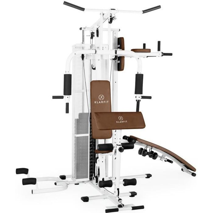 Klarfit Ultimate Gym 5000 Station de musculation complète (butterfly, bench press, rameur, crunchbank, poids inclus) - blanc