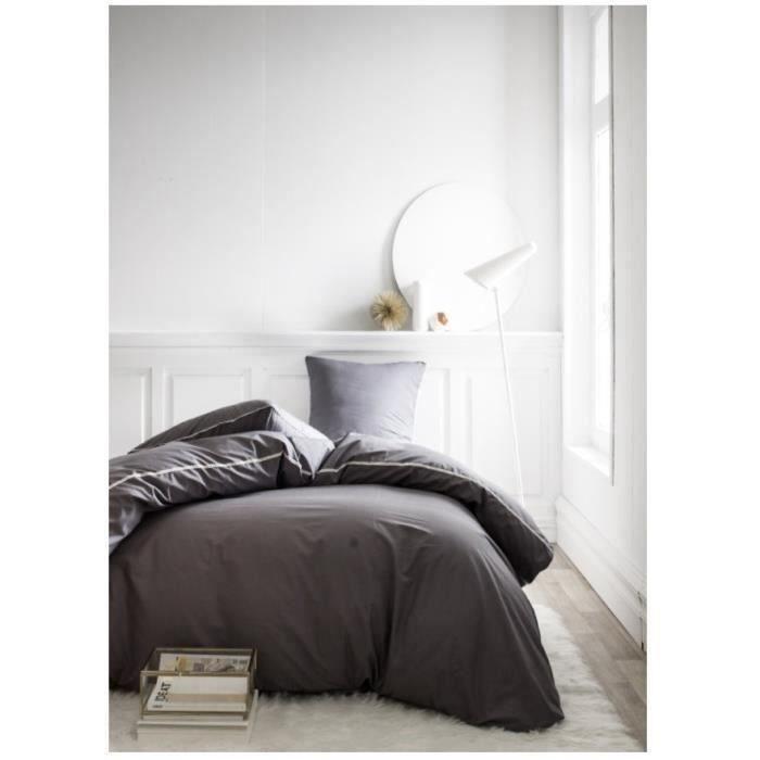 Parure de lit 220X240 2 personnes Percale uni gris PREMIUM