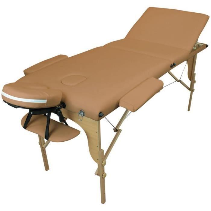 Table de massage pliante 3 zones en bois avec panneau Reiki + Accessoires et housse de transport - Marron clair